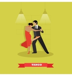 Couple dance tango concept poster Man and vector