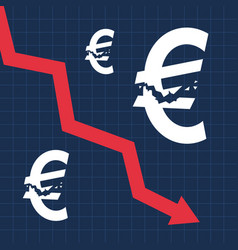 Crashed euro sign and falling graph financial vector