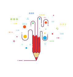 creative pencil line style vector image