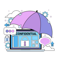 Data safety cloud shield tablet padlock umbrella vector