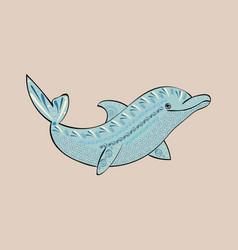 dolphin sea animal ornament silhouette vector image