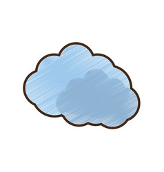 Drawing blue cloud symbol vector