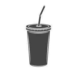 drinks mug with straw glyph icon vector image