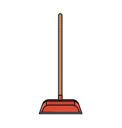 Dustpan with wooden stick in colored crayon vector