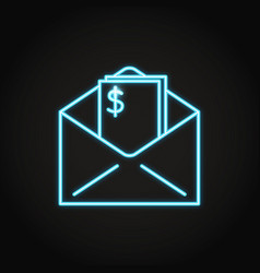 Envelope with money icon in neon line style vector