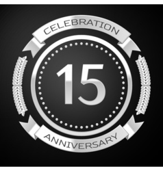 Fifteen years anniversary celebration with silver vector image