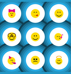 Flat icon face set of party time emoticon smile vector