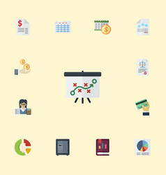 Flat icons bookkeeper pie bar tactics and other vector