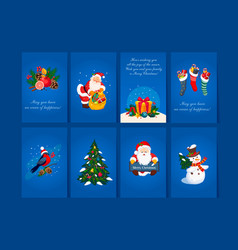 flat set of 8 greeting cards with vector image