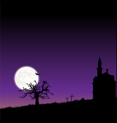 frame with moon night halloween landscape vector image