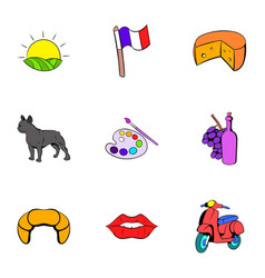 french nation icons set cartoon style vector image