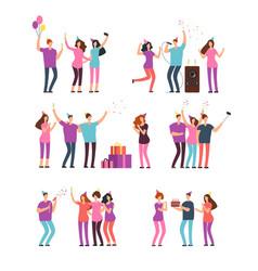 friendly people men women dancing singing vector image