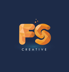 fs letter with origami triangles logo creative vector image