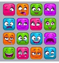 Funny cartoon colorful square faces vector