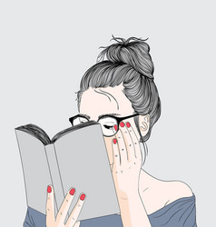 girl is reading a holiday book vector image