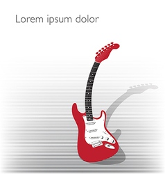 Guitar background in black and red vector
