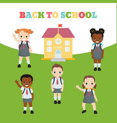 happy school kids happy school kids vector image
