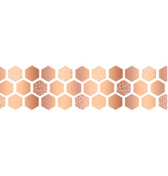 Hexagon copper foil seamless border vector