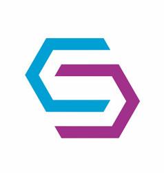 Hexagonal s abstract logo design template vector