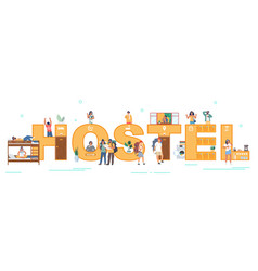 hostel typography banner flat vector image