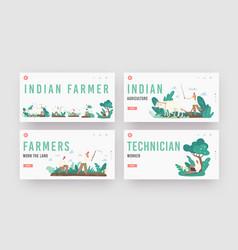 Indian farmer landing page template set rural men vector