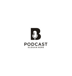 Initial letter b with microphone podcast logo vector