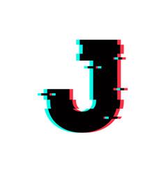 Logo letter j glitch distortion vector