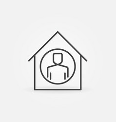 Man inside house line icon stay at home vector