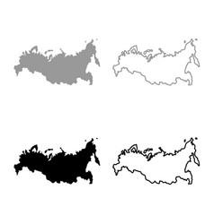Map of russian icon set grey black color vector