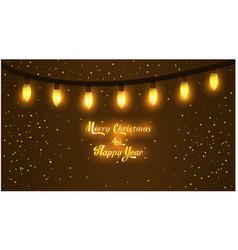 Merry christmas garland dark brown background vector