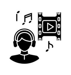 Music supervisor black glyph icon vector