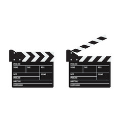 Opened and closed cinema or film clapper vector