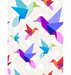 origami hummingbirds pattern background vector image