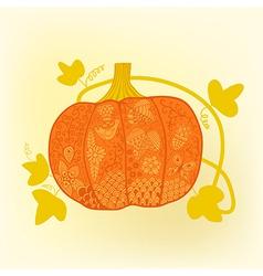 Ornated pumpkin stylized Halloween card vector