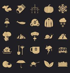 Overcast icons set simple style vector