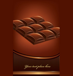 Package of dark chocolate tables background vector