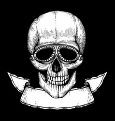 poster with hand drawn human skull wit vector image