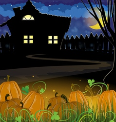 Pumpkins and house vector
