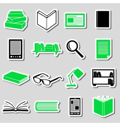 Reading books theme set of simple stickers eps10 vector