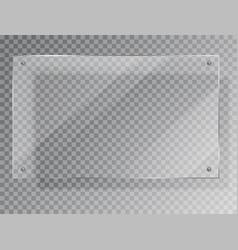 realistic glass plate rectangular shape on vector image