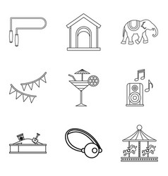 Rest from child icons set outline style vector