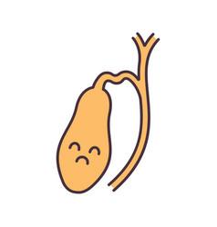 Sad gallbladder color icon vector