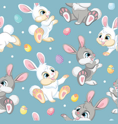 seamless pattern easter rabbits on blue background vector image