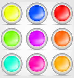 set of colored buttons with shadow vector image