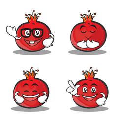 Set of pomegranate cartoon character style vector