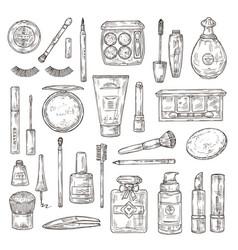 sketch cosmetics false eyelashes lipstick and vector image