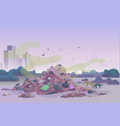 smelly stinking littering waste dump landfill with vector image