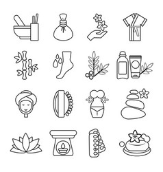 Spa salon icons set outline style vector