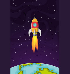 space rocket flying in space out of the earth vector image