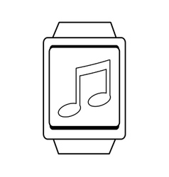 Square watch and music icon graphic vector